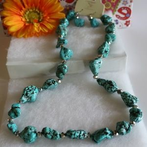 Boho Necklace Natural Howlite Turquoise Earrings